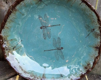 Dragonfly dinnerware bowl large serving dish giant salad bowl Organic Earthy Rustic handmade ceramics handmade pottery dinnerware