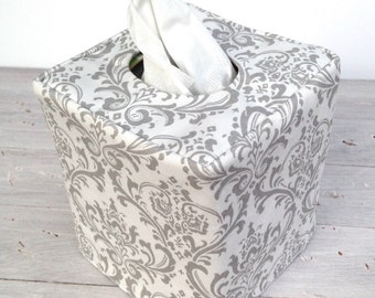Gray and white damask reversible tissue box cover