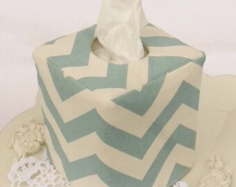 Spa Blue/Natural Chevron reversible tissue box cover