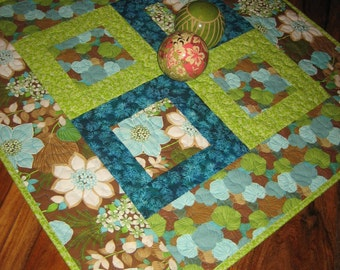 Quilted Table Topper, Turquoise and Green, Flowers and Leaves, Brown Aqua, Large Table Topper, Table Mat, Ginko Leaves, Handmade