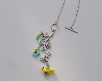 Bird and Leaves Car Charm