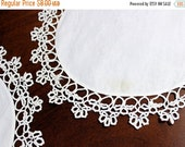 2 DAMAGED Vintage Doilies in White - Linen Centered with Exquisite Tatted Lace Border 12133