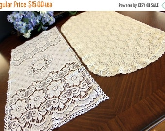 2 Vintage Synthetic Lace, Table Runners, Cream and White, Light Weight - 13570
