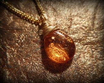 Topaz Necklace Golden - Teardrop - November Birthstone, Sunshine Dust Czech Glass Necklace, Wire Wrapped Necklace