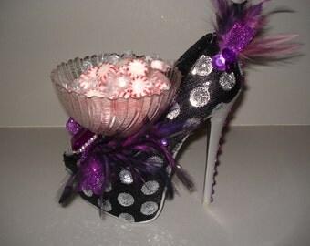 Shoe Candy Dish black & silver mimi sequin Platform