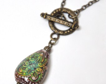 Antique Brass Mood Necklace, Mood Bead Pendant Necklace, Color Changing Necklace, Colorful Teardrop Bead, Front Toggle Clasp, Boho Bohemian