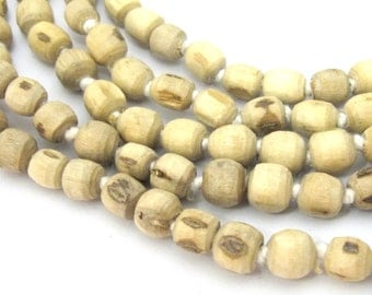 100 Beads strand - Natural Tulsi wood beads light weight from Nepal- 1 strand knotted -ML048