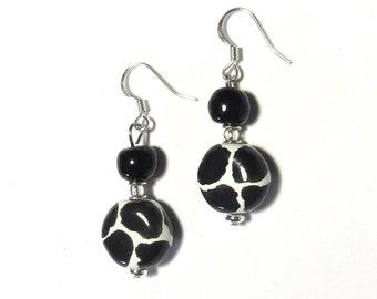 Kazuri Earrings, Black and White Earrings, Ceramic Earrings