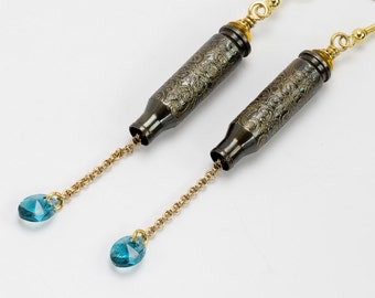 "Bullet earrings, etched bullet casing earrings ""Monte Cristo"" - H&K bullet earring - dangle earring - bullet"