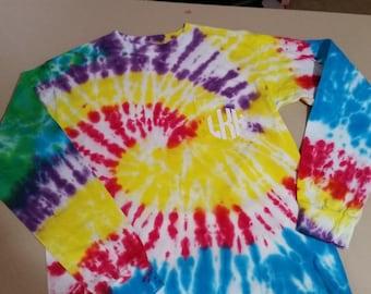 Long Sleeve Comfort Colors Tie Dye  Pocket T-Shirt with Vinyl Monogram on Pocket Ladies