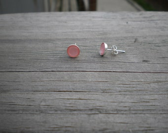 Pink Mother of Pearl Stud Earrings 6mm