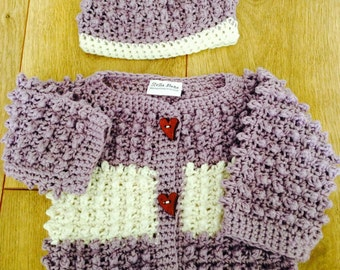 Baby Sweater Set - Purple and White Stripe
