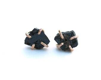 Black Tourmaline Claw Studs