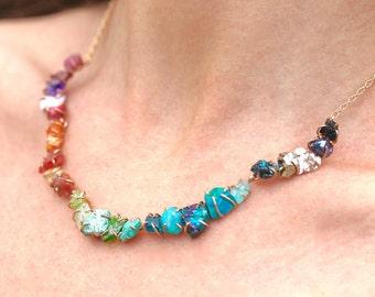 Hilal Necklace/Raw Gemstones/Rainbow Necklace