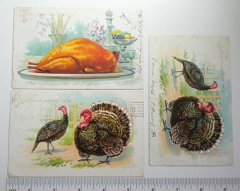 Vintage Thanksgiving Raphael Tuck Post Cards Embossed 1906 and 1907