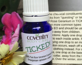 TICKED! Pure rose geranium essential oil from South Africa.