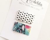 Watercolor and polka dot- set of 2 leather snap clips