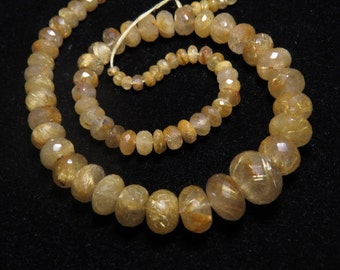 GOLDEN Rutilated Quartz - 204 Ctw - 16 inches - AAAAA - High Quality Natural -  Micro Faceted Rondelle Beads Huge size - 4 - 13.5 mm
