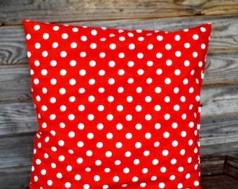 Red Polka Dot Pillow Cover, Throw Pillow 16x16 inch, Decorative Pillow, 100% Pure cotton Shams, Handmade Customizable Cushion