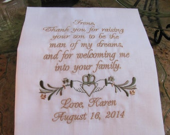 Personalized Mother of the Groom Irish Claddagh Embroidered Wedding Handkerchief Wedding Gift Keepsake Lace Hanky by Simply Sweet Hankies