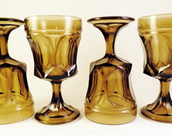 4 Fairfield by Anchor Hocking Glasses Stems Tawny Brown On the Rocks Goblets