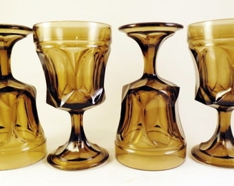 4 Fairfield-Brown by Anchor Hocking Glasses Stems On the Rocks Goblets