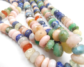 Precious Gemstone wholesale  Faceted, Multi Gemstone Rondelles, Lapis, Pink Opal, Sunstone, Ruby,12x8mm