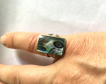 Sterling Abalone Ring - Size 6
