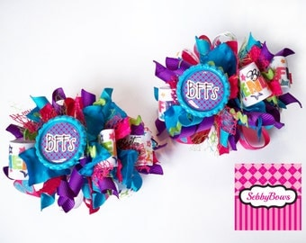 Set of 2 BFF (Best Friends Forever) Funky Loopy Bows, Hair Accessories for Girls