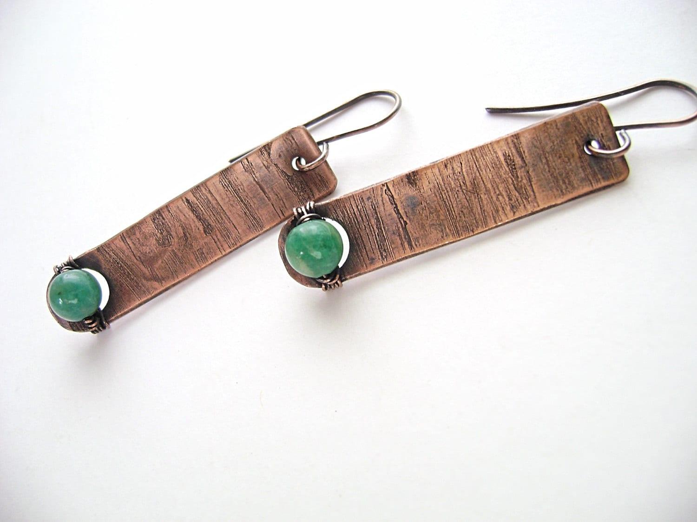 Amazonite Earrings, Copper Bar Earrings, Wire Wrapped, Rustic ...