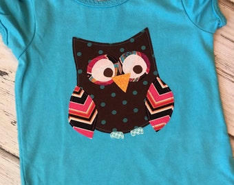 SALE- Girl's Turquoise Owl Shirt Size 24 Months