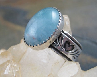 Aquamarine Sterling Silver Hearts Ring - Size 8 - Pale Sky Blue Wide Band