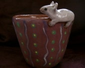 Ceramic Cup Terracotta Clay Glaze White Mouse Pottery