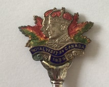Vintage spoon - King George VI and Queen Elizabeth Royal Visit to Canada  1939 - British royal  family collectible