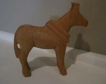 VINTAGE Primitive hand carved wooden horse  60s