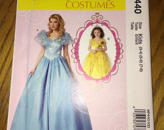 McCall's Costume pattern MP440 Kids sizes 3-8. Cinderella princess dresses. New