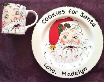 Santas cookie plate and Mug - Christmas Gift for Child Personalized Gift - cookies for Santa - milk for Santa -  Santa plate and mug set