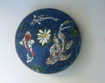 Koi Fish Stained Glass Mosaic Garden Stepping Stone