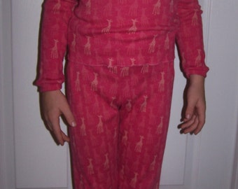 Footie Pajamas Long Sleeve Size 7 Cotton Knit 2 Piece