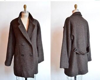 50% OFF SALE / Vintage 1980s TWEED wool coat