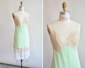 Vintage 1980s MINT green lace slip