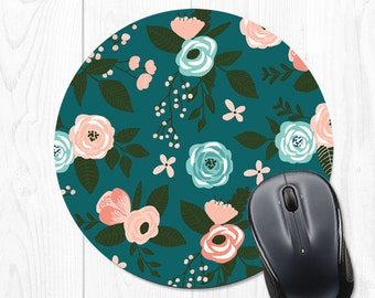 Mouse Pad Mouse Mat Floral Mousepad Floral Mouse Pad Office Supplies Cubicle Decor Office Desk Accessories Office Accessories Gift Coworker