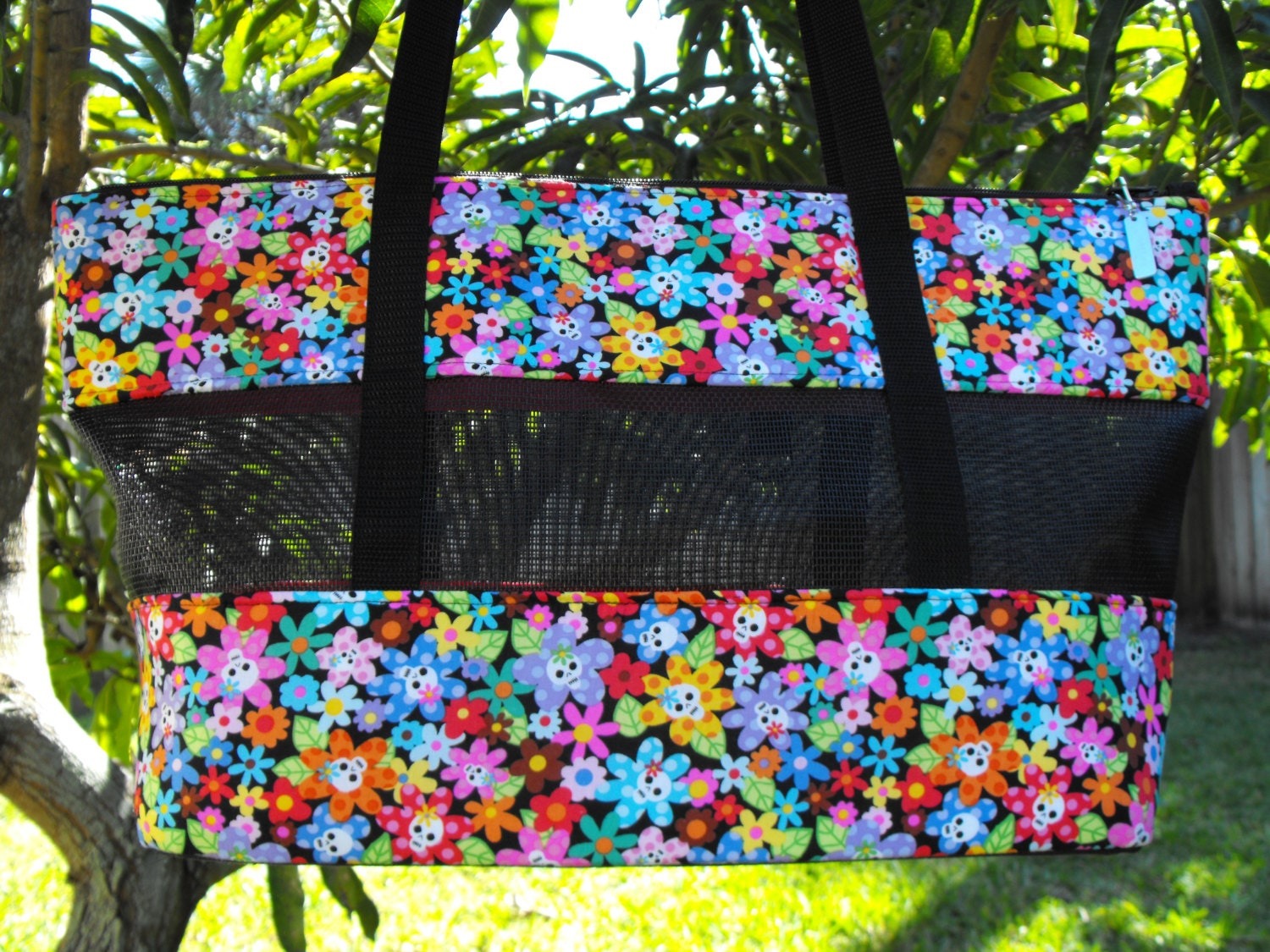 Flowers and Tiny Skull Heads Pet Carrier Ready to Ship