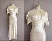 30s deco ivory satin vintage wedding dress / vintage 1930s wedding dress