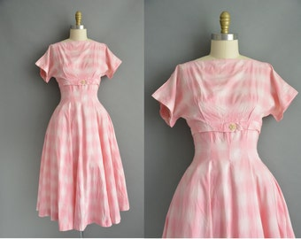 50s pink cotton plaid vintage dress / vintage 1950s dress