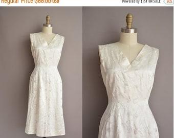 25% off SHOP SALE... 50s white satin embroidered vintage wiggle dress / vintage 1950s dress