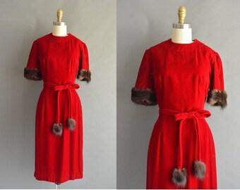 vintage 1950s dress / 50s red velvet pom pom fur vintage dress