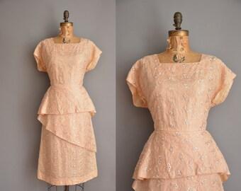 r e s e r v e d...vintage 1950s dress / salmon tier wiggle dress / 50s dress