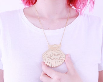Gold Mermaid Shell Necklace / Mermaid Jewelry / gifts for her / christmas gifts
