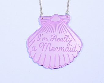 Pink Mermaid Shell Necklace / Mermaid Jewelry